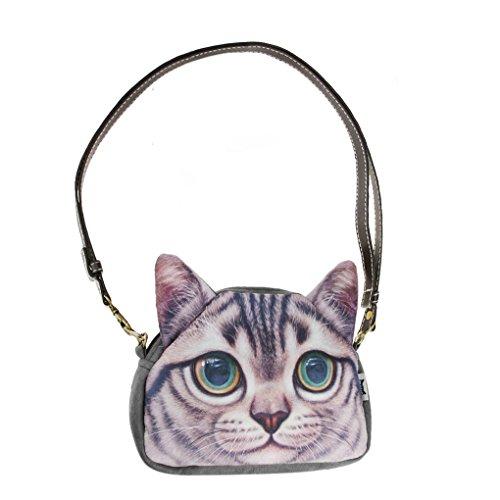 Damen Schultertasche Niedlich Katzenmotiv Messenger Bag Umhängetasche Stilvoll Crossbody Bag Münzbeutel für Reise - Gute Katze Katze Schüssel