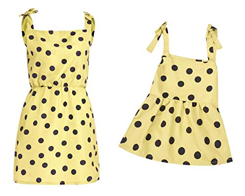 Mama & Me Frauen Polka Dot Print Familie Kleidung Sling ärmelloses Minikleid, Kleinkind Kinder Baby Mädchen Polka Dot Print Familie Kleidung ärmelloses Sling Kleid (12M-5Y) ()