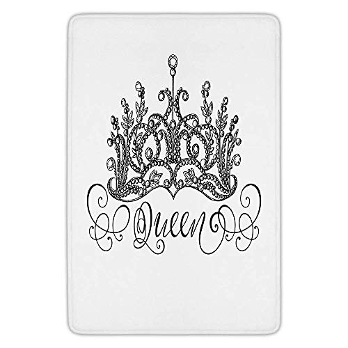 TRAzz Bathroom Bath Rug Kitchen Floor Mat Carpet,Queen,Hand Drawn Crown with Queen Lettering Baroque Style Ancient Elements Calligraphy,Black and White,Flannel Microfiber Non-Slip Soft Absorbent