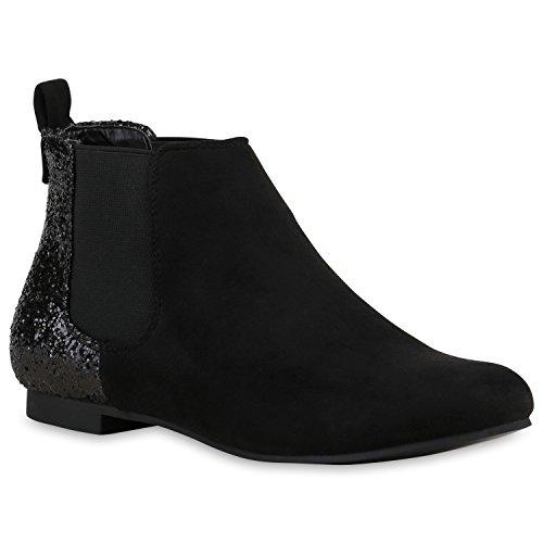 Damen Chelsea Boots Glitzer Stiefeletten Lederoptik Schwarz