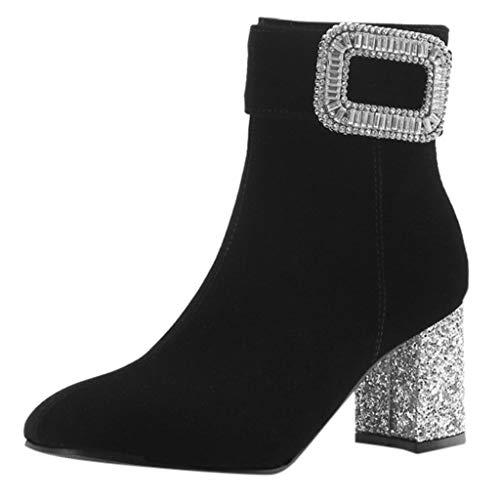 Suitray Damen High Heels Boots Leder Mode Herbst Winter Blockabsatz Stiefeletten Schuhe Sneaker Anti-Rutsch Komfortabel Schuhe Schneestiefel Elegant Abend Freizeit Boot Strassenmode -