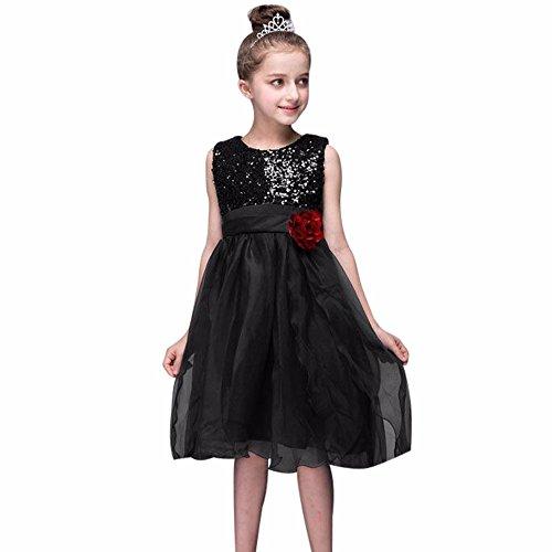 Kostüm Musketiere 3 Mädchen - Kleider Kinderbekleidung Honestyi Kleinkind Baby Mädchen Bling Pailletten Sleeveless Tutu Prinzessin Kleid Outfits Kleidung (Schwarz,XL)