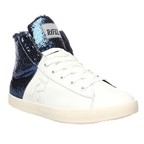 RIFLE Chaussures Femme, Haute Avec Laces. mod. 162-W-361-331 Blanc bleu