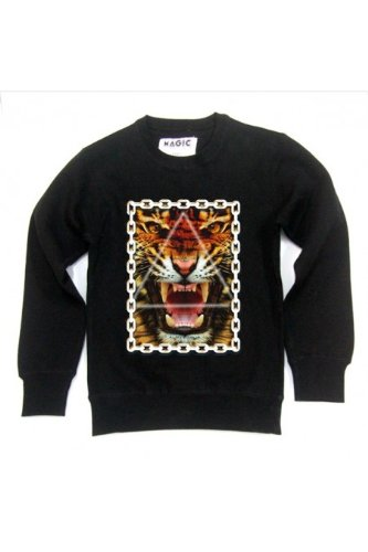 Magic custom - Sweat col rond tiger chains Gris