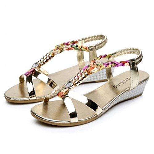 Omiky® Sommer-Rhinestone-Frauen-flache Sandelholze für Frauen-Art- und Weisebeiläufige Sandelholze bequeme Strand-Schuhe Gold