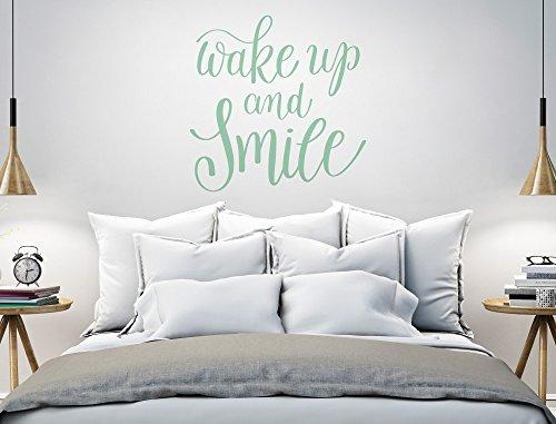 "I-love-Wandtattoo 11974 Wandtattoo Schlafzimmer Spruch ""Wake up and smile"" Wandworte in Englisch Wanddeko Wandbild Schriftzug Wandverzierung"
