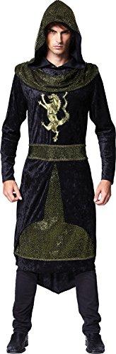 Erwachsene König Artus Kostüm Ritter Mittelalterlich Party Prince Robe Mit Kapuze Outfit