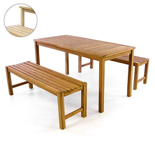 Divero Garten- & Picknick-Set Sitzgruppe   Gartenmöbel-Garnitur 3-teilig 1 Tisch 2 Bänke   unbehandelte behandelte Oberfläche Teak-Holz Massiv wählbar (Teak)