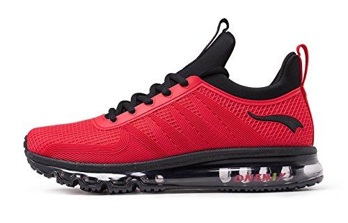 onemix Air Laufschuhe Herren Leichte Sportschuhe mit Luftpolster Turnschuhe Fitness Schuhe Sneakers Schwarz/Rot 42