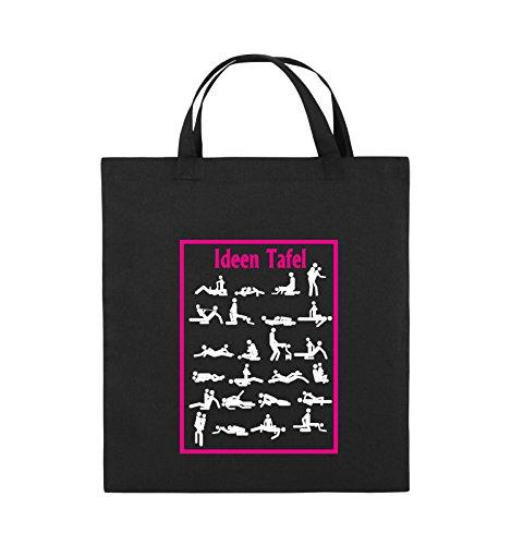 Buste Comiche - Lavagna Per Idee - Posizione Del Sesso - Borsa Di Juta - Manico Corto - 38x42cm - Colore: Nero / Bianco-neon Verde Nero / Bianco-rosa