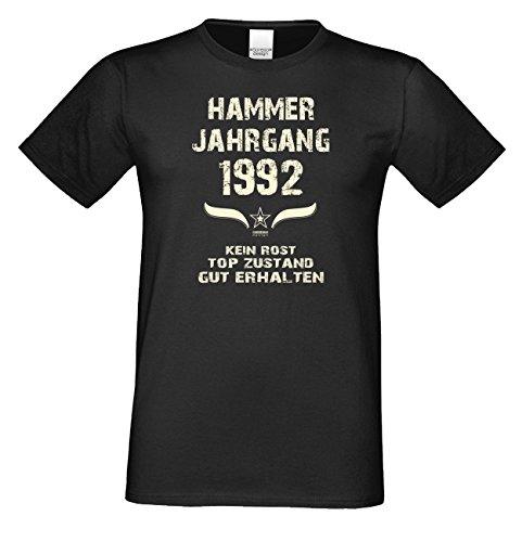 Geschenk zum 25. Geburtstag Hammer Jahrgang 1992 T-Shirt Tolle Geschenkidee als Geburtstagsgeschenk für Herren auch in Übergrößen Farbe: schwarz Schwarz