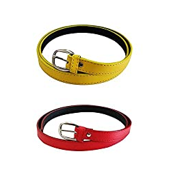 Verceys Yellow And Red Non Leather Casual Belt For Women - Combo Of 2