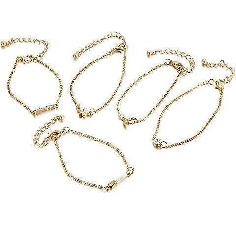 Lureme Vintage Layered Chaîne Bracelets Flèche Étoile Lune Bar Bracelets
