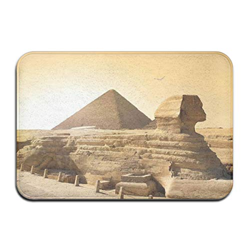 Bath Rugs and Mats,Egyptian Pyramids Famous Great Landmark Wonders of The World Heritage View Theme Picture,Plush Decor Mat Non Slip Backing,19.5 * 31.5 inch - Wonder Wash Mini