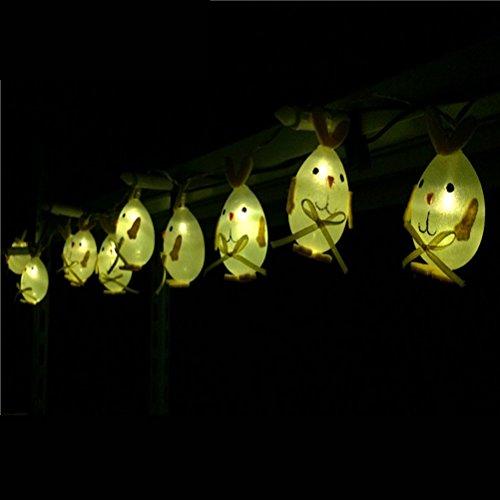 Ledmomo catene luminose led a batteria impermeabile 10 led uovo di pasqua coniglietto coniglio decorative (luce bianca pura)