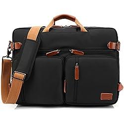 CoolBELL umwandelbar Rucksack Messenger Bag Umhängetasche Laptop Tasche Handtasche Business Aktentasche Multifunktions Reise Rucksack Passend für 17,3 Zoll Laptop / Männer / Frauen(Schwarz)