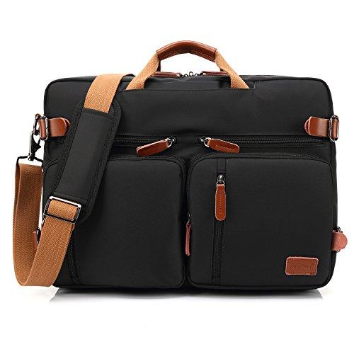 CoolBell umwandelbar Rucksack Messenger Bag Umhängetasche Laptop Tasche Handtasche Business Aktentasche Multifunktions Reise Rucksack Passend für 17,3 Zoll Laptop/Männer/Frauen(Schwarz) - Trolley-computer-tasche