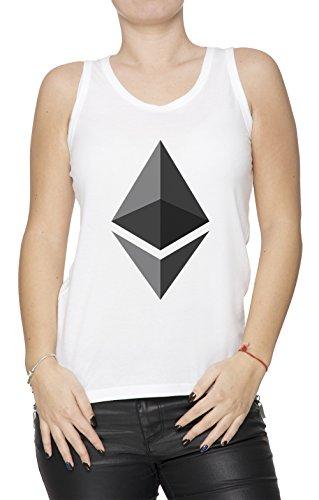 Ethereum ETH Femme Débardeur T-Shirt Cou Déquipage Blanc Manches Courtes Toutes les Tailles Womens White All Sizes Blanc