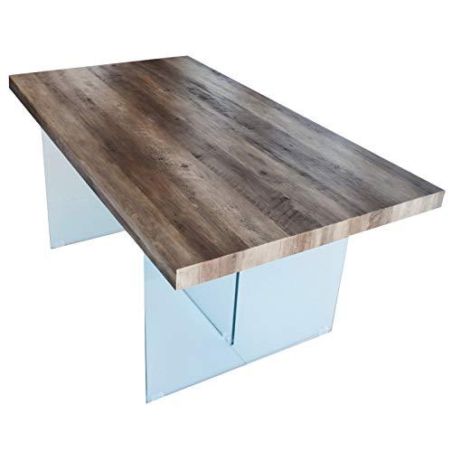 CADENTRO Table à Manger 200x100 Plateau en Bois (MDF) et Pieds en Verre