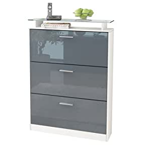 schuhkipper schuhschrank lavia korpus in wei matt front in grau hochglanz vladon. Black Bedroom Furniture Sets. Home Design Ideas