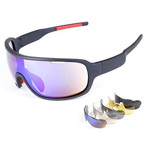Z&HA Polarisierte Sport-Sonnenbrille Mit Fünf Sätzen Von Wechselobjektiven,Männer Und Frauen Fahrer Nachtsichtbrille,Radfahren Oder Angeln Gläser,Built-In Rezept Linsenrahmen,Black