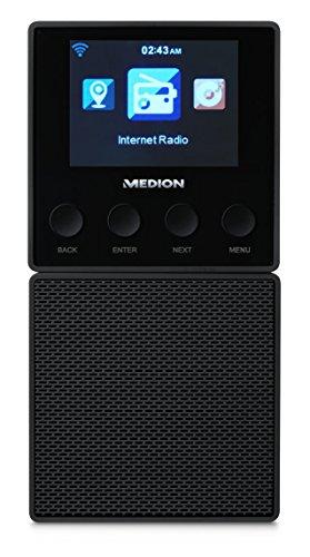 MEDION E85032 MD 87248 WLAN Internet Küchen Steckdosenradio (abnehmbarem Streaming Lautsprecher, integriertes Netzteil mit Ladefunktion, DLNA, UPnP, Steuerung per App) schwarz