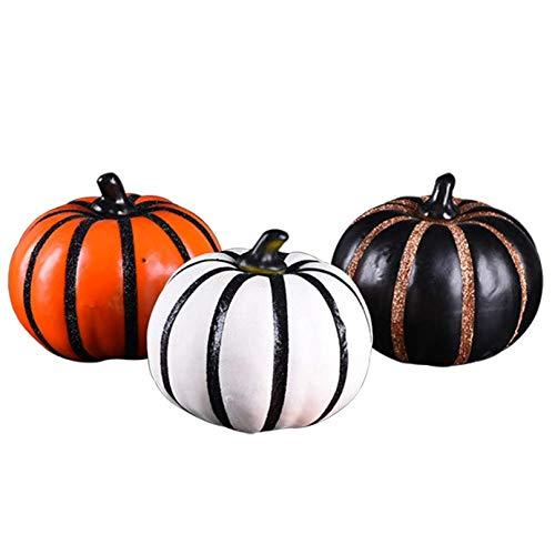 YC DOLL Halloween-Schaum Kürbis-Dekorationen Craft-Kit-Dreidimensionale Kürbis-Weiß, Orange, Schwarz, Insgesamt DREI