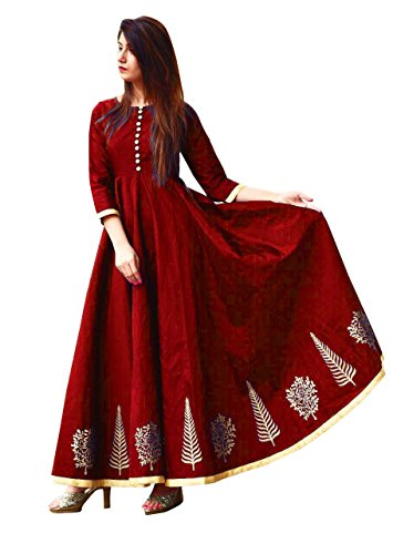 Vaankosh Fashion Women's Taffeta Silk Anarkali Embroidered Gown (Maroon)