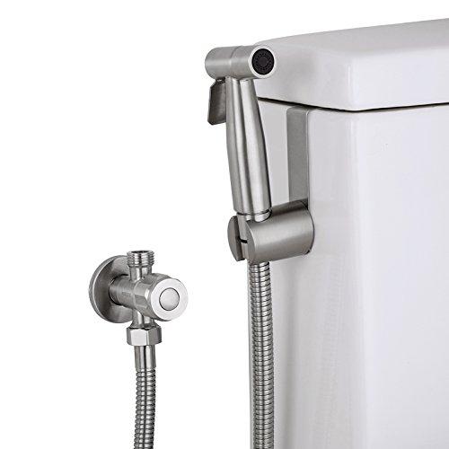 Hlluya Wasserhahn für Waschbecken Küche 304 Edelstahl Sprühkopf Spritzpistole Eckventil WC Hygiene Waschen unter fließendem Wasser.