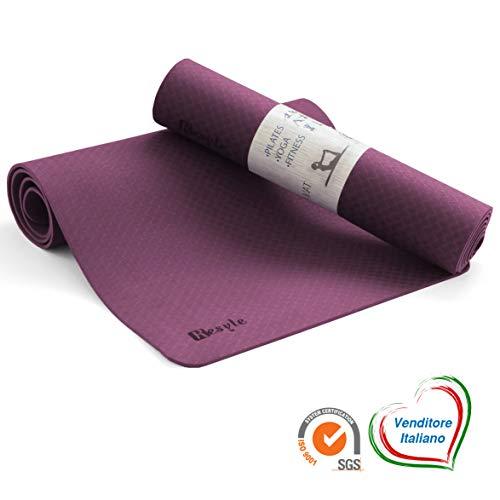 Kesyle® tappetino fitness 2.0   100% tpe ecologico antiodore   tappetino palestra fitness   yoga mat ginnastica tappetino yoga   materassino antiscivolo spesso e pieghevole   alto design italiano