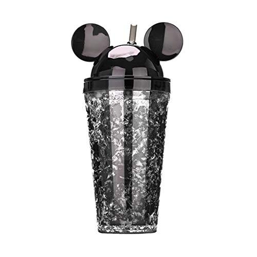 OUBOT Kreative Plastikschale Mickey Doppel Sippy Cup Erwachsene Milchshake Kaltes Getränk Saft Große Kapazität Paar Hand Wasser Tasse Mickey Eisschale (Color : Black) - Sippy Saft Cup