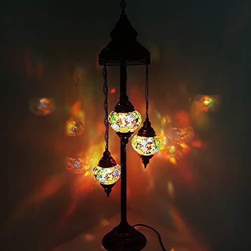 Turkish Moroccan Tiffany Style Glass Mosaic Floor Lamp Night Light - MC16 X 3 Bulb Floor Lamp