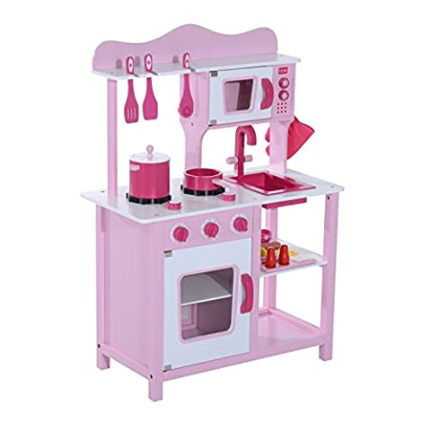 HOMCOM Wooden Kids Kitchen Children's Pretend Role Play Set Cooker Imagination Early Learning Toys Game Girls Pink w/ Cooking