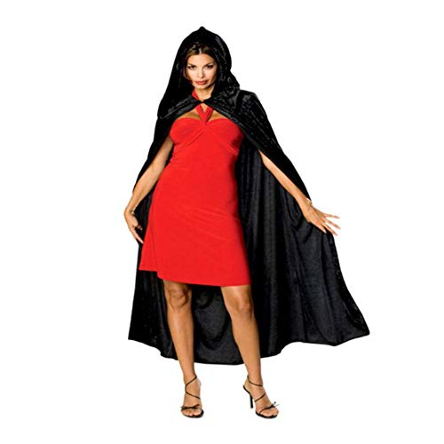 arty Cosplay Unisex Extra Lange Kapuze Samt Halloween Kostüme Mantel Cape Rot/Schwarz ()