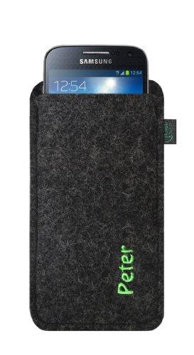 Filztasche für Samsung Galaxy S4 Mini und iPhone 5C, Filzfarbe anthrazit, individuell mit Name/Wunschbegriff hochwertig bestickt, Stickfarbe pink, Übermittlung Ihres Wunschbegriffs siehe Beschreibung Stickfarbe lime