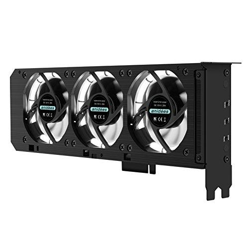 Anidees-GP CL8Cartes graphiques Refroidisseur avec carte graphique 3x 80mm ventilateur LED RVB Contrôle PCI Support avec ventilateur–RVB