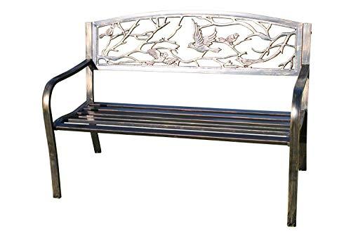 Banco de jardín de metal con diseño de pájaros, fabricado de hierro...