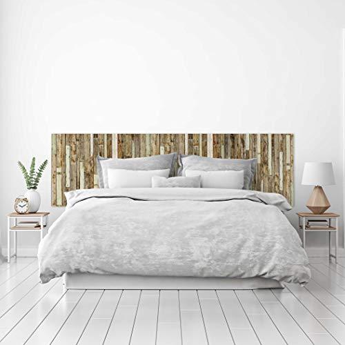 MEGADECOR Cabecero Cama PVC Decorativo Económico Textura Madera Tablas Viejas Unidas Varios Tamaños (100 cm x 60 cm)