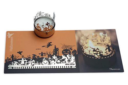 13gramm Halloween Windlicht Schattenspiel Geschenk, 3D Edelstahl Aufsatz für Kerze inkl. Karte