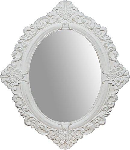 Specchio Specchiera da appendere 50x2x58 cm in legno finitura bianco anticato