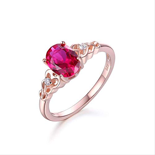 yunkuo S925 Sterling Silber Rot Coupe Jade Edelstein Ring Rose Gold Koreanische Mode Damenschmuck Hand Coupe