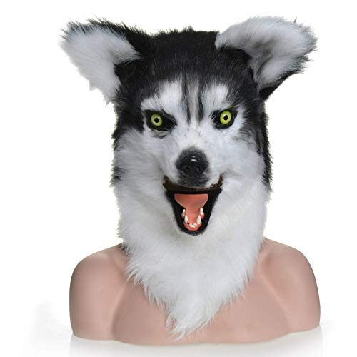 ZUAN Pelz Husky Kopfbedeckungen Huski Kopfmaske Tiermaske Huskey Beefy Halloween Und Party Extra Bewegliche Mundmaske Mit Hellem Auge (Color : Black, Size : 25 * 25) (Halloween Band Husky)