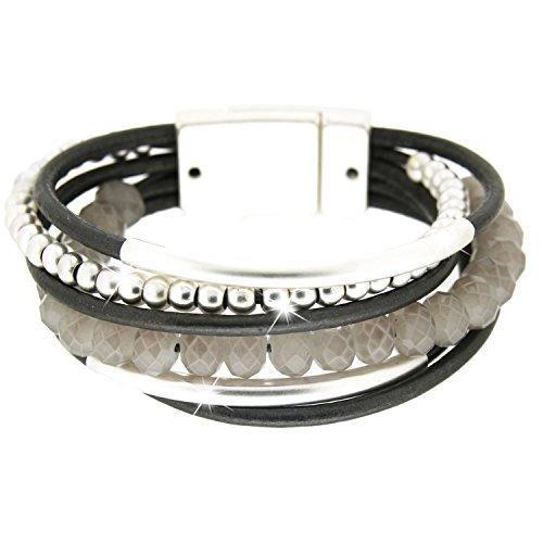 sweet deluxe 4719 Armband Rabea aus dunkelgrauem Kunst-Leder und mattsilbernen Perlen, Damen-Armband mit Magnetverschluss, stilvolles Geschenk für Frauen Damen, Modeschmuck mit Liebe zum Detail (Must De Cartier Für Frauen)