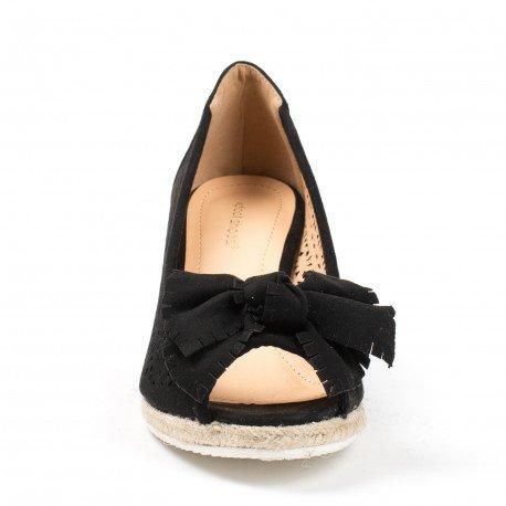 Ideal Shoes - Sandales compensées et ajourées avec nœud Laiza Noir