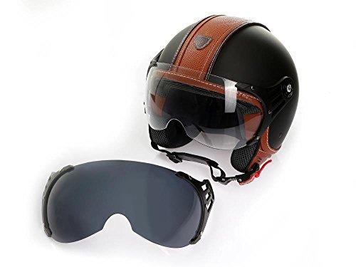 Motorradhelm Jethelm Rollerhelm CMX Hazel Größe L matt schwarz mit braunem Leder und klarem Visier + Zusatzvisier getönt