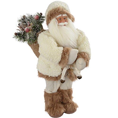 WeRChristmas - Decorazione natalizia a forma di Babbo Natale con sacco dei regali, 30 cm, colore: bianco/marrone