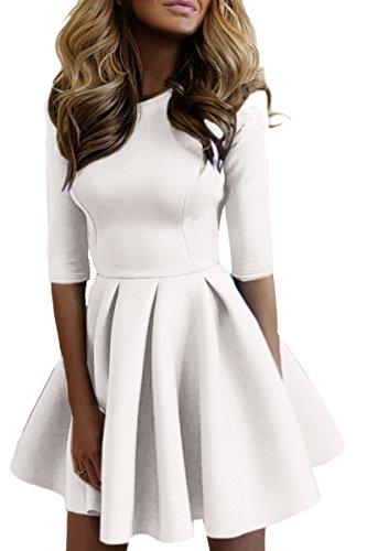 YMING Damen Elegant Swing Kleid 1/2 Arm Kleid Faltenrock Rundhals Midi Cocktailkleid,Weiß,S,DE 34 36 (1/2-Ärmel-rollkragen)