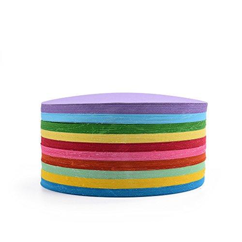 Faltpapier, rund, 500 Blatt, 10 cm Durchmesser, 70 g/qm 10 Farben - bunte hochwertige Faltblätter für Origami und Bastelprojekte