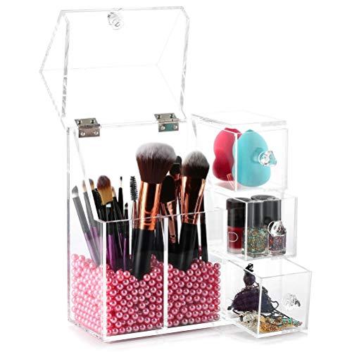 Jelinda Organizador De Maquillaje Y Brochas Acrilico Transparente con Perla Rosa Organizador Maquillaje Pinceles para organizar Esmalte De Uñas