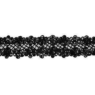 Altotux 5,7cm Mehrfarbig Organza Bestickt Trim Perlen Pailletten von Yard Schwarz